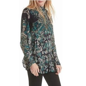 🖤NWT Free People Printed Tunic with Cut-out Back